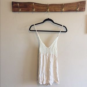 Tops - Crochet knit top, cream color, size large